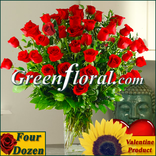 The Valentine Four Dozen Rose Vase (Available in 4 colors.)