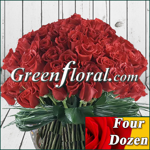 Four Dozen Rose Bowl Design (Available in 4 colors.)