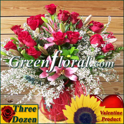 The Valentine Three Dozen Valentine Red Rose Vase