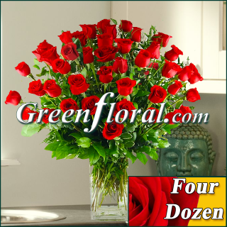 Four Dozen Red Rose Vase (Available in 4 colors.)