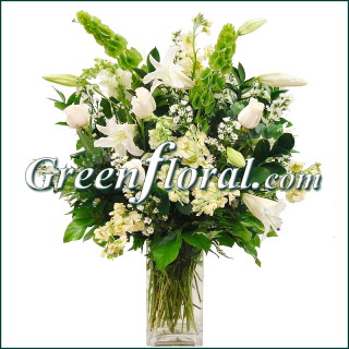 The Woodland Greens White Vase Design