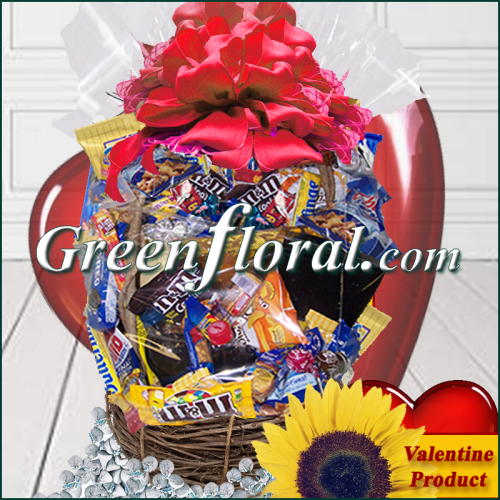 The Valentine Chocolate & Snack Food  Basket