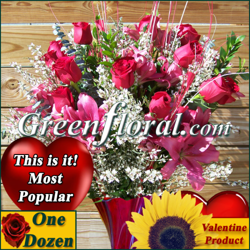The Valentine Dozen Open Rose Vase (Available in 4 colors.)
