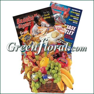 Baseball Fruit & Junk Food Combo Basket