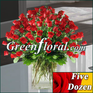 Five Dozen Rose Vase (Available in 4 colors.)