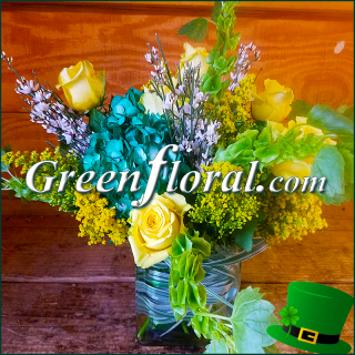The St Patrick\'s Day Six Yellow Rose Cube Vase