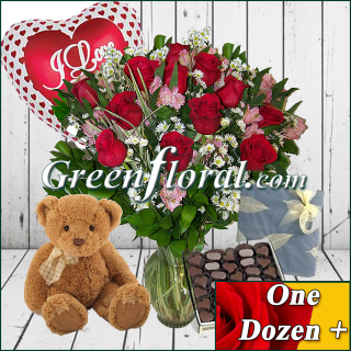 Dozen Roses,Teddy,Balloon & Chocolates (Available in 4 colors.)