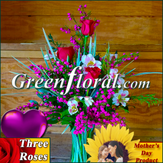 The Mother\'s Day Three Rose Vase (Available in 4 colors.)