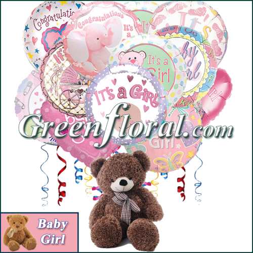 117b345b971 The Twelve Baby Girl Mylar   Teddy arranged by Green Floral