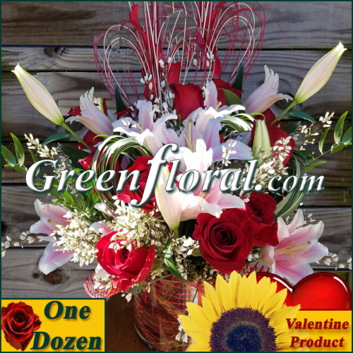 The Valentine Twelve Red Rose Cube Vase (Available in 4 colors.)