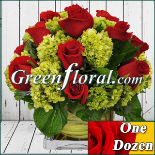 Dozen Rose and Hydrangea Cube Vase (Available in 4 colors.)