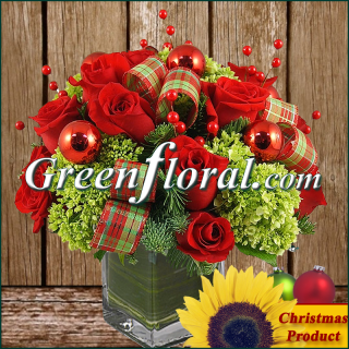 The Dozen Rose Hydrangea Christmas Cube Vase