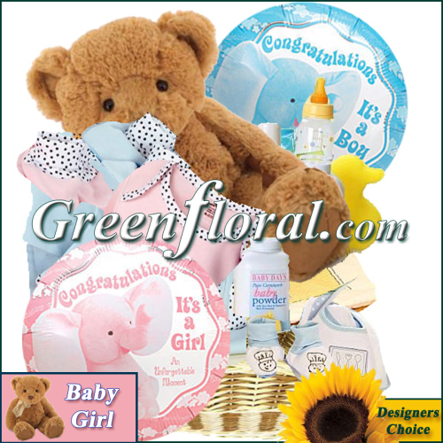 8368b404c88 Our Designer s Baby Girl Gift Basket arranged by Green Floral