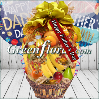 The Father`s Day Ole Fashion Fruit Basket & Balloons