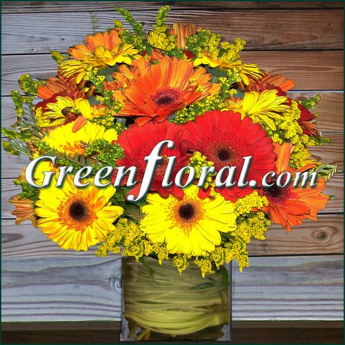 The Lake Caroline Fall Gerbera Cube Vase