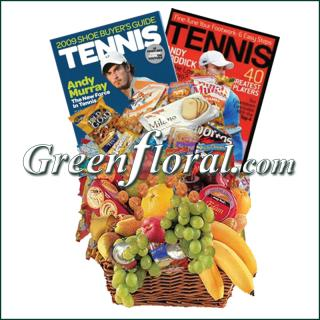 Tennis Fruit & Junk Food Combo Basket