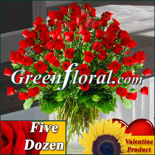 The Valentine Five Dozen Red Rose Vase (Available in 4 colors.)