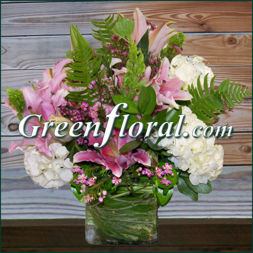 The pink sorbonne cube vase arranged by green floral inc a the pink sorbonne cube vase arranged by green floral inc a florist in brandon and jackson ms mightylinksfo