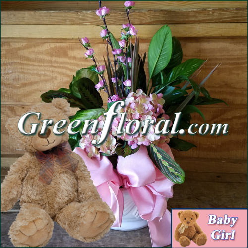The Goodman Garden Baby Girl and Teddy Designer Planter