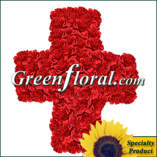 The Red International Cross Floral Emblem