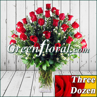 Three Dozen Rose Vase (Available in 4 colors.)