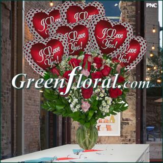 Dozen Rose Vase & 6 Love You Balloons (Available in 4 colors.)