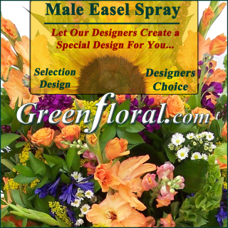 Our Designer\'s Male Sympathy Easel Spray Choice