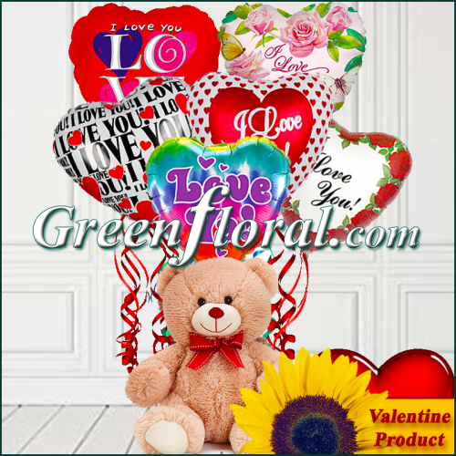 The Valentine Six I Love You Balloons & Teddy