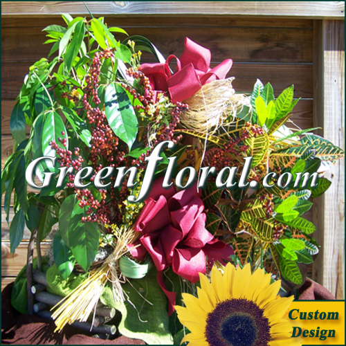 Double Plant Grapevine Log Basket (Custom Design-FF2037-03)