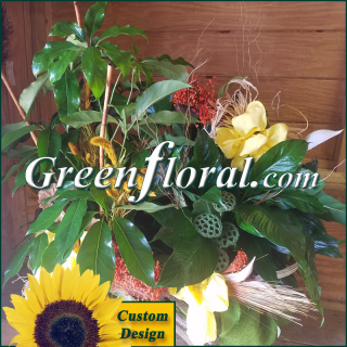Double Plant Grapevine Log Basket (Custom Piece-FF2037-06)