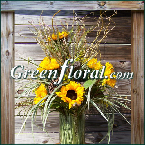 The Branson Sunflower,Willow,& Pod Vase