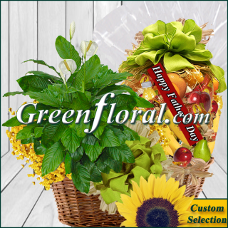 Father`s Day Ole Fashion Fruit and Plant Basket Combo